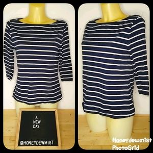 A NEW DAY Navy and White Stripe Boat Neck Top